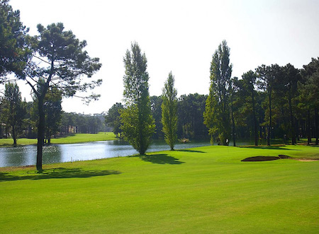 Tree lined fairway at Aroeira Golf
