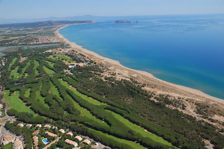 Aerial view of Golf de Pals and Platja de Pals