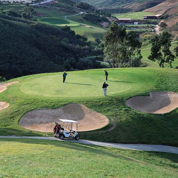 View from above to an elevated green on Santo Antonio Golf, Algarve, Portugal