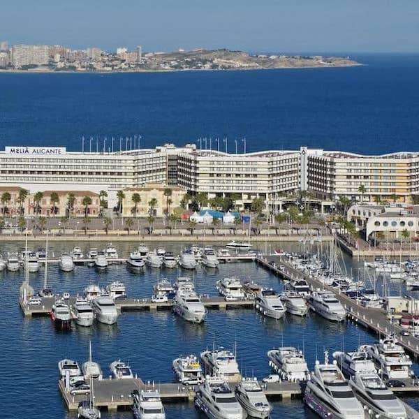 Aerial view of Melia Alicante Hotel and adjacent marina