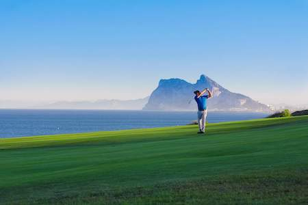 Fairway shot on Alcaidesa Links with the Rock of Gibraltar in the background