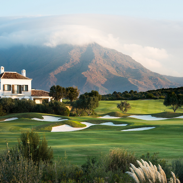 View to mountain in the clouds from Finca Cortesin Golf, Costa del Sol