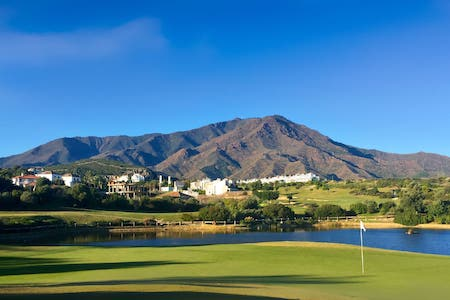 View to the mountains from the 5th hole on Valle Romano Golf