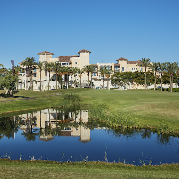 Caleia Mar Menor Hotel with Mar Menor golf course in foreground