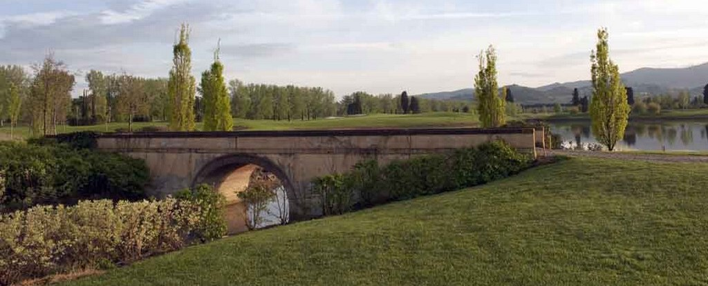 Scenic bridge on Le Pavionere Golf & Country Club