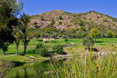 View to the mountains from the 16th hole on Los Arqueros Golf