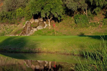Water hazard guards a green on Marbella Golf & Country Club