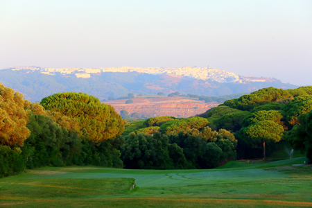 Beautiful view to one of the white villages from Montenmedio Golf