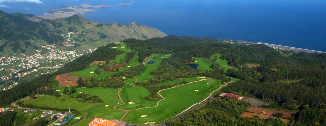 Aerial view of Santo da Serra Golf Club in Madeira