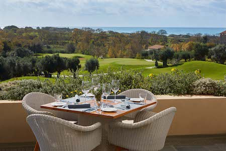 iew of the golf course from the Flame Restaurant at Westin Costa Navarino